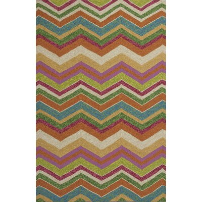 Rebecca Multi Chevron Indoor/Outdoor Area Rug Rug Size: Round 76
