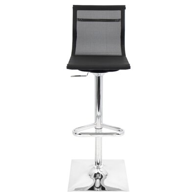 Bartow Adjustable Height Swivel Bar Stool Upholstery: Black