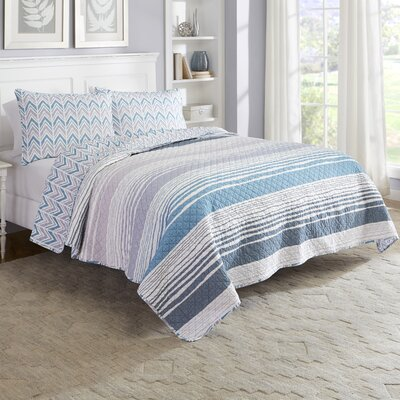 Trevino 3 Piece Reversible Quilt Set Size: King