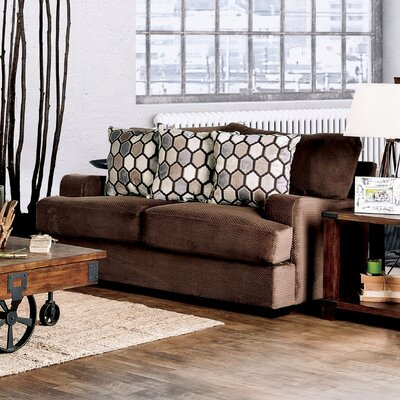 Hess Transitional Loveseat Upholstery: Chocolate