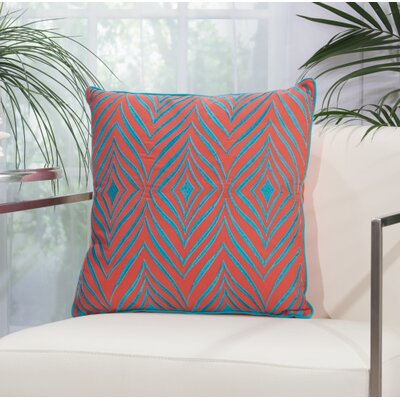 Dillsboro Wild Chevron Outdoor Acrylic Throw Pillow Color: Coral / Turquoise