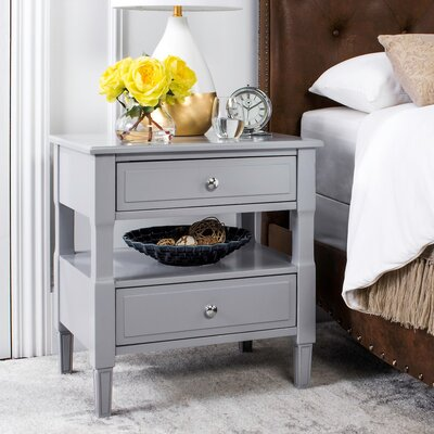 Jerry 2 Drawer Nightstand Color: Gray