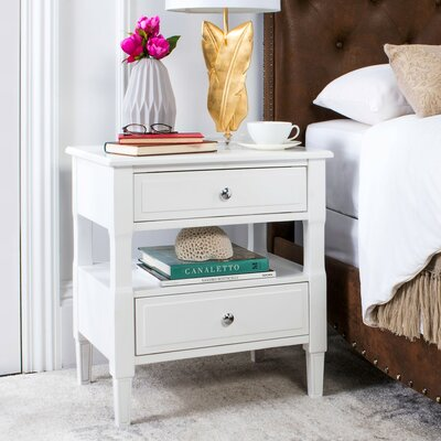 Jerry 2 Drawer Nightstand Color: White