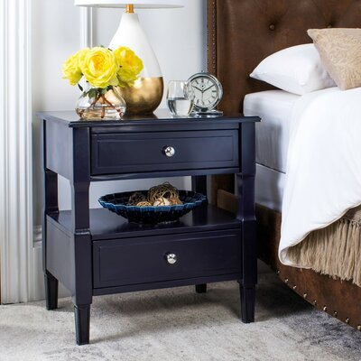 Jerry 2 Drawer Nightstand Color: Navy
