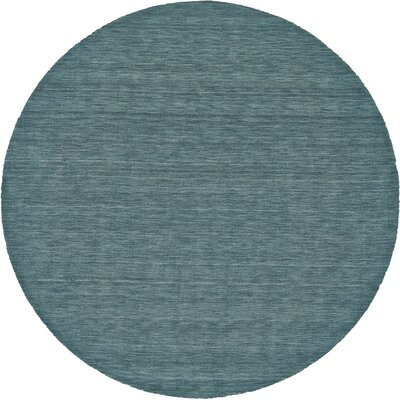 Lawrence Hand-Tufted Teal Area Rug Rug Size: Round 8