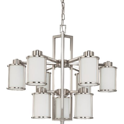 Floyd 9-Light Shaded Chandelier Energy Star: No, Finish: Brushed Nickel