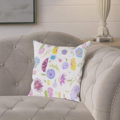 Atkins Spring Dance Outdoor Throw Pillow Size: 16 H x 16 W x 2 D, Color: White