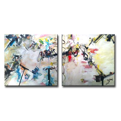 """Abstract XIII 2 Piece Painting Print on Wrapped Canvas Set Size: 16"""" H x 32"""" W x 1.5"""" D LATT2083 36960398"""