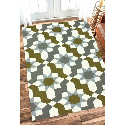 Jacobs Hand Hooked Gray Area Rug Rug Size: 36 x 56