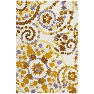 Wilton Ivory/ Brown Area Rug Rug Size: Rectangle 5 x 8