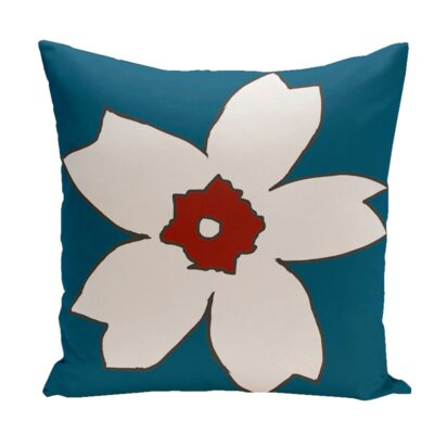Hawkesbury Outdoor Throw Pillow Color: Teal / Red, Size: 18 H x 18 W x 1 D