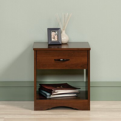 Everett 1 Drawer Nightstand Color: Brook Cherry