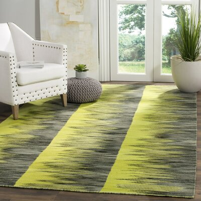 Amerina Hand-Woven Green/Charcoal Area Rug