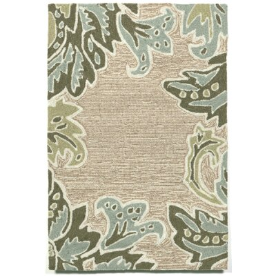 Cosmo Ornametal Leaf Border Aqua Indoor/Outdoor Rug Rug Size: 36 x 56