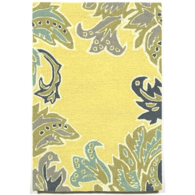 Cosmo Ornamental Leaf Border Yellow Indoor/Outdoor Area Rug Rug Size: Rectangle 76 x 96