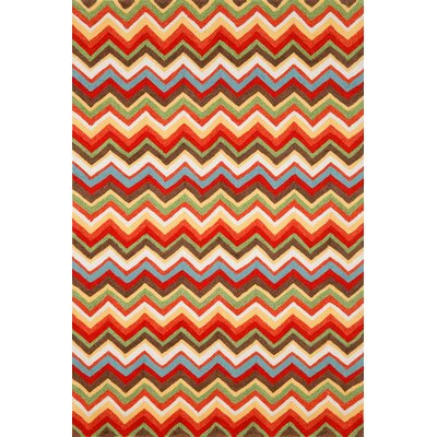 Cosmo Sunshine Zigzag Outdoor Area Rug Rug Size: Runner 2 x 8