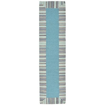 Cosmo Pinstripe Border Blue Area Rug Rug Size: 36 x 56