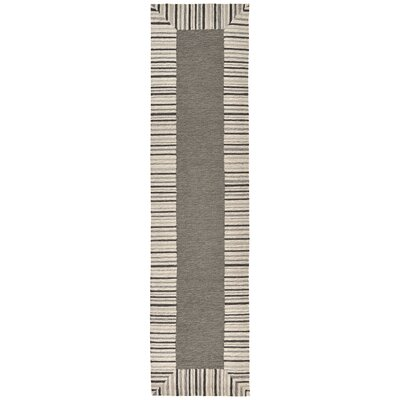 Cosmo Pinstripe Border Grey Area Rug Rug Size: Runner 2 x 8