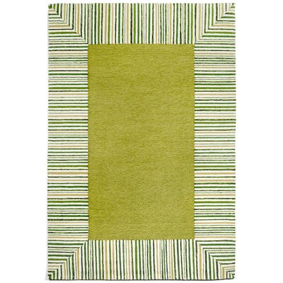 Cosmo Pinstripe Border Green Area Rug Rug Size: 36 x 56