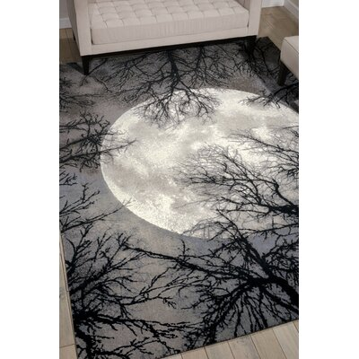 Antigua Black/Gray Area Rug Rug Size: 99 x 139