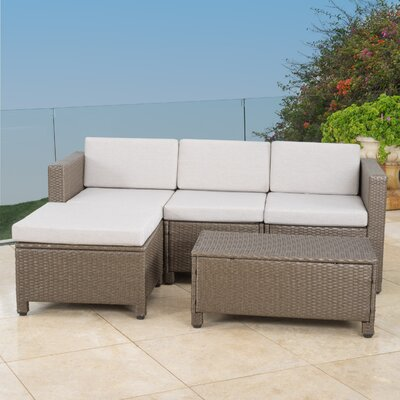 5 Piece Stylish Seating Group with Cushion Frame Finish: Light Brown