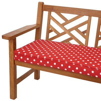 Soft Outdoor Bench Cushion Fabric: Red Dots, Size: 48