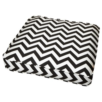 Flair Outdoor Dining Chair Cushion Fabric: Chevron Black, Size: 19 W x 19 D