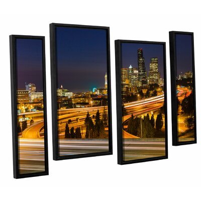 Highway to Seattle 2 4 Piece Framed Graphic Art on Wrapped Canvas Set Size: 24
