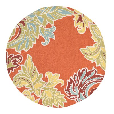 Cosmo Ornamental Leaf Border Orange Indoor/Outdoor Area Rug Rug Size: 76 x 96