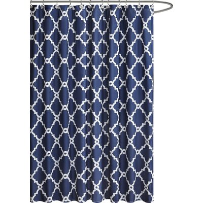 Winard Microfiber Shower Curtain Color: Navy, Size: 96 H x 72 W