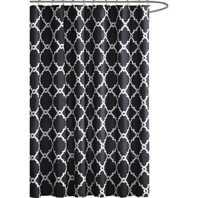 Alta Microfiber Shower Curtain Color: Black, Size: 96 H x 72 W