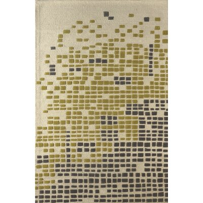 Clara Hand-Tufted Ivory/Green Area Rug Rug Size: 4 x 6