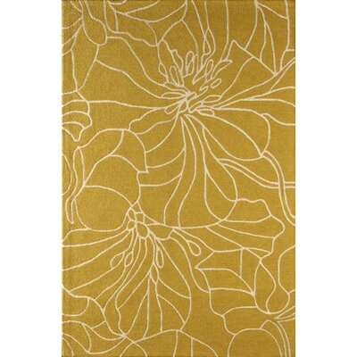 Gina Hand-Tufted Gold/Ivory Area Rug Rug Size: 4 x 6