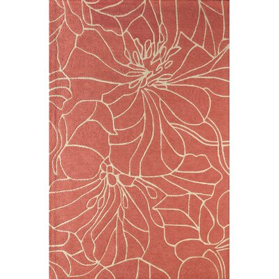 Gina Hand-Tufted Orange/Ivory Area Rug Rug Size: 5 x 8