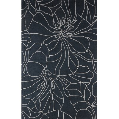 Gina Hand-Tufted Lapis/Gray Area Rug Rug Size: Rectangle 5 x 8