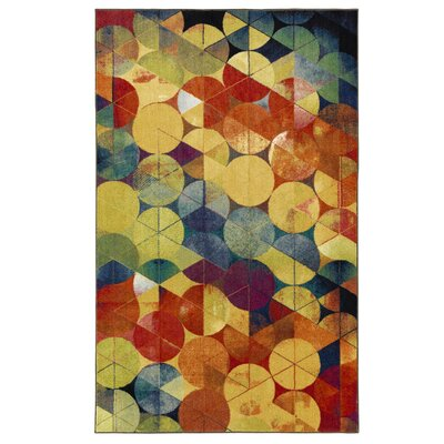 Harold Full Circle Yellow/Blue Area Rug Rug Size: 5 x 8