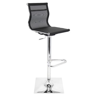 Emmaline Adjustable Height Swivel Bar Stool Upholstery: Black