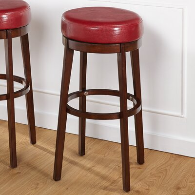 Henley 30 Swivel Bar Stool Upholstery: Red
