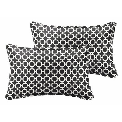 Samantha Geometric Indoor/ Outdoor Lumbar Pillow Color: Black