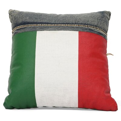 Linnea Denim Italy Flag Throw Pillow