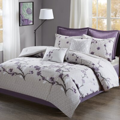 Buchanan 8 Piece Comforter Set Size: King, Color: Purple