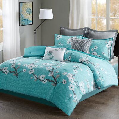 Buchanan 8 Piece Comforter Set Size: Queen, Color: Teal