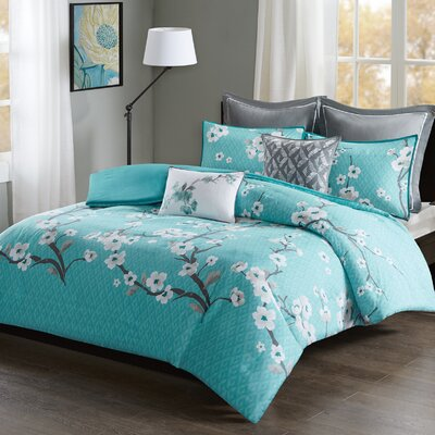 Buchanan 7 Piece Duvet Cover Set Size: King/California King, Color: Teal