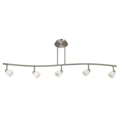 Alberto 5-Light Full Track Lighting Kit with Glass Shade Color: Brushed Steel