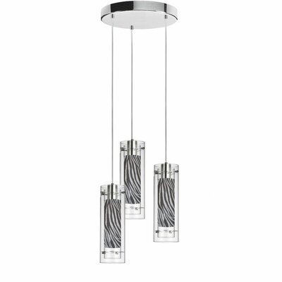 Wilton 3-Light Pendant Shade color: Zebra
