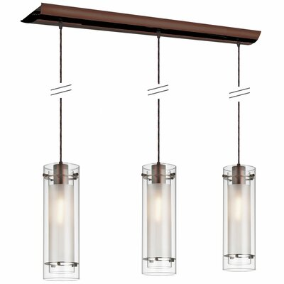 Aidan Fabric Sleeves 3-Light Pendant Finish: Oil Brushed Bronze, Shade color: Clear Frosted