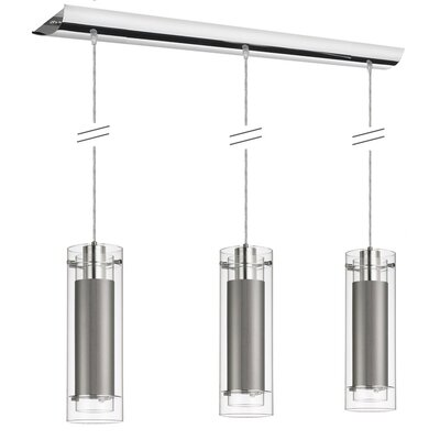 Aidan Fabric Sleeves 3-Light Pendant Finish: Polished Chrome, Shade color: Steel Silver