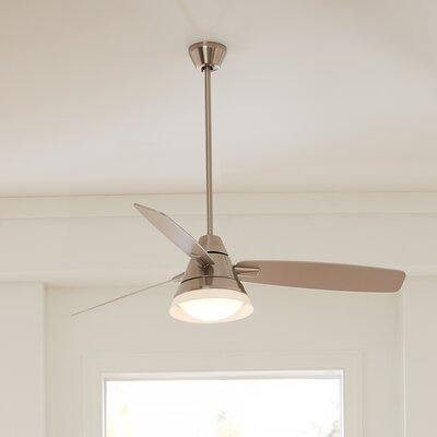 54 Alden 3 Blade Ceiling Fan with Remote Finish: Brushed Steel