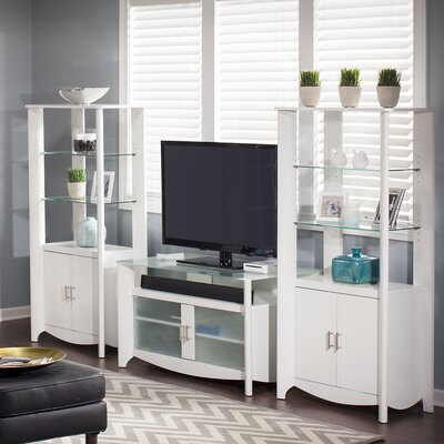 Wentworth TV Stand and Library Storage Cabinet with Doors Finish: Pure White