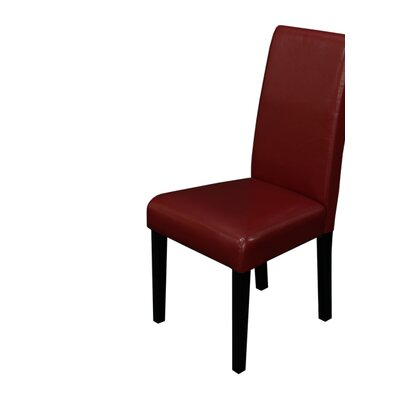 Aubrey Parsons Chair Upholstery: Red, Finish: Espresso